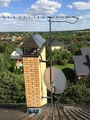 Подключение эфирной и спутниковой антенн на мачте